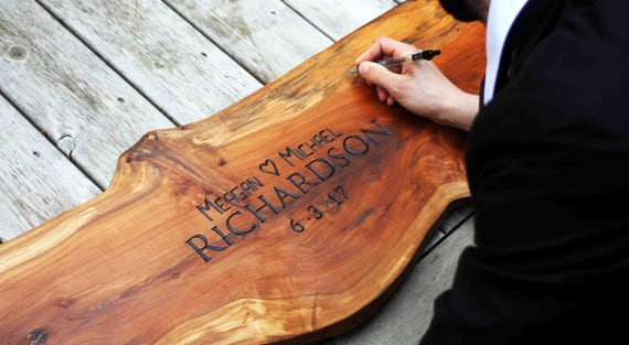 Large Applewood Wedding Sign + Personalized Engraving, Monogrammed Wedding Guest Book Alternative, Custom Live Edge Natural Wood Guest Book