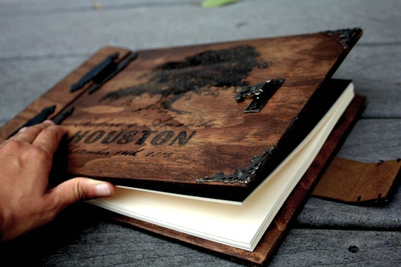 Rustic Wooden Book W/ Tree and Personalized Engraving. Personalized Nature Themed Wood Book W/ Tree Engraving, Leather Spine & Rustic Finish