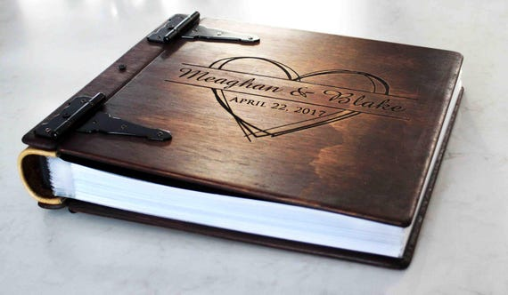 Large Personalized Rustic Wood Photo Album w/ Leather Spine, Custom Wood Wedding Album, Art Portfolio, Wood Book W/ Personalized Engraving