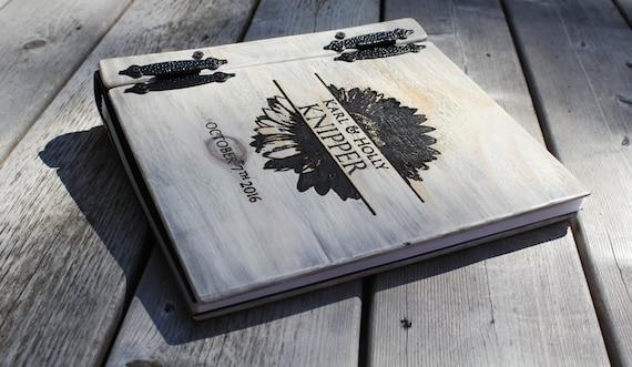 Driftwood Wedding Album / Photo Guest Book, Monogram Personalized Wedding Album Guest Book, Large Custom Personalized Wood Book, Flat Lying