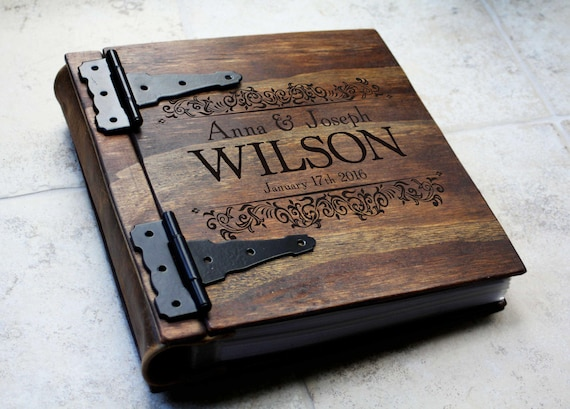 Private Listing - Custom Engraved Handmade Wood Wedding Photo Album With Custom Engraving Design And Hand Torn Pages