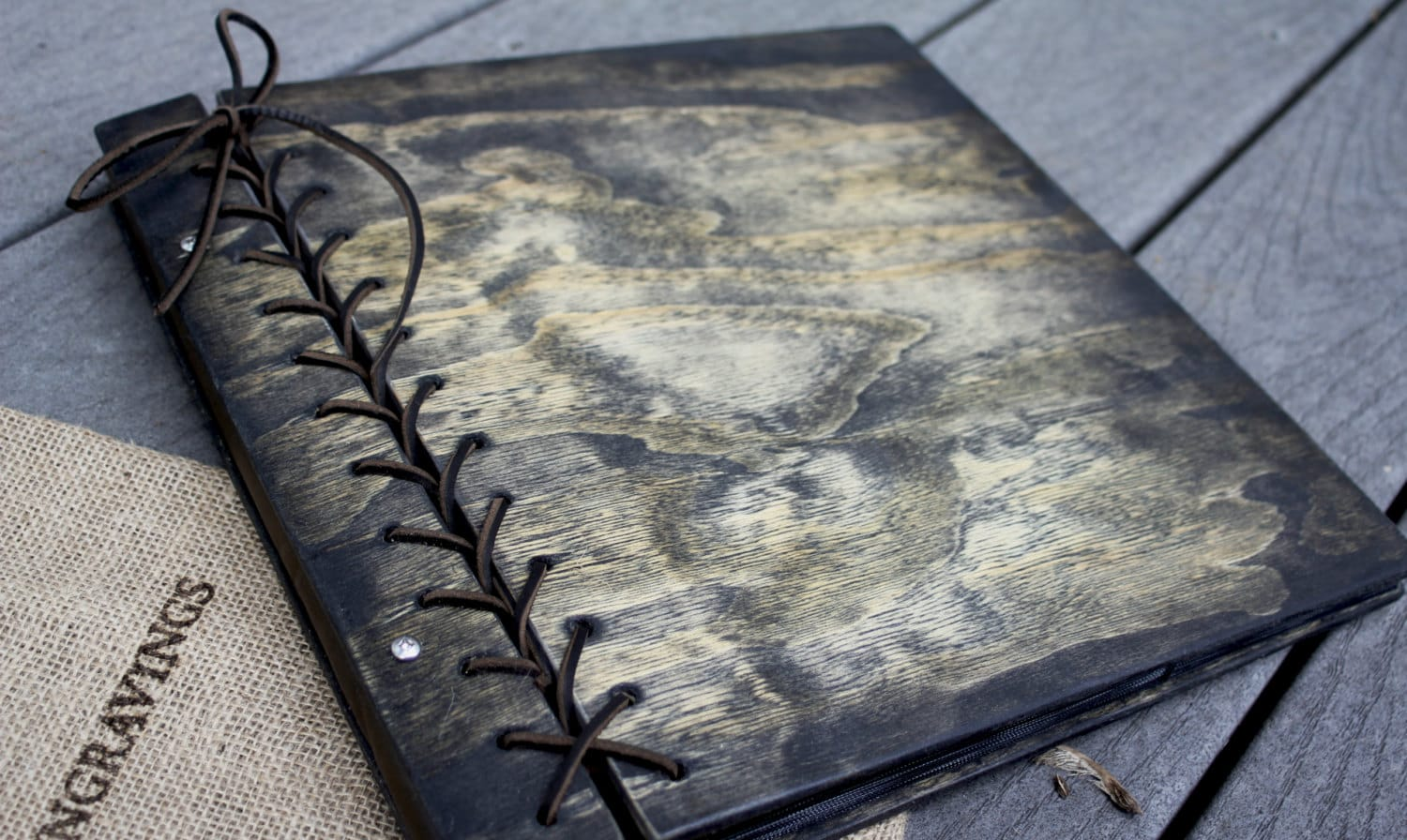 Large Personalized Rustic Wood Photo Album w/ Leather