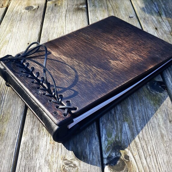 PRIORITY ORDER - Monogram Wedding Book, Unique Guest book, Wood Wedding Guest Book + Leather, Rustic Wedding Guest book Idea