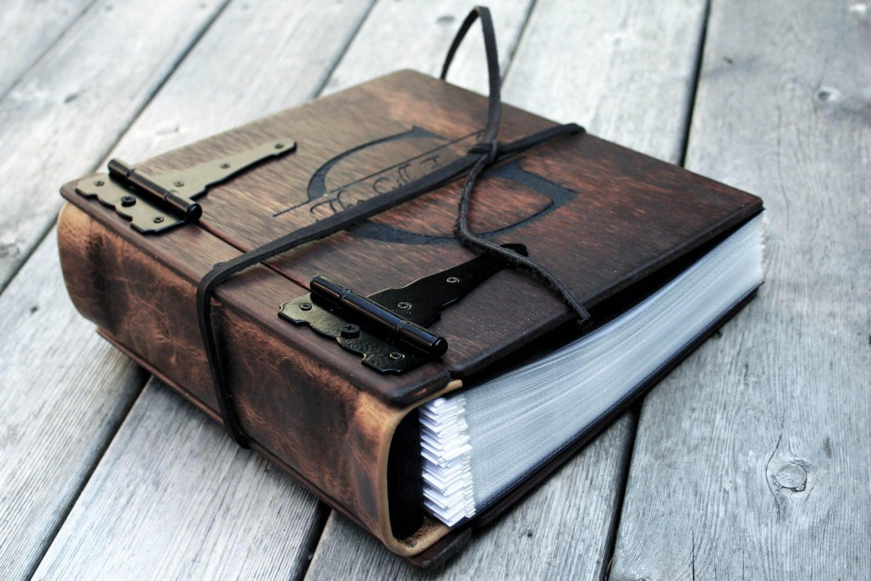Monogram Wood Photo Album For 5th Anniversary Gift Wood Leather