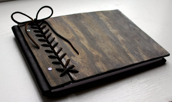 Rustic Guest Book, Custom Personalized Wooden Book W/ Braided Leather Hinge, Wood Journal, Wedding Album, Sketchbook