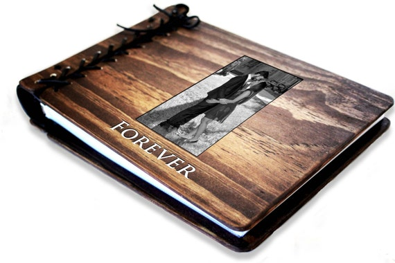 Photo Wedding Guest Book, Rustic Personalized Wooden Book W/ Leather Spine, Photo Album Book, Wood Journal, Photo Wedding Album, Sketchbook
