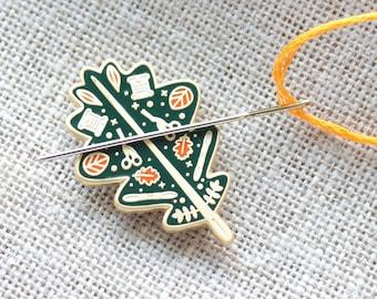 Hard Enamel Needleminder Fall, Leaf Needle Minder, Needle Nanny, Gift for Stitcher, Gift for Embroiderer, Autumn Leaf, Embroidery Accessory