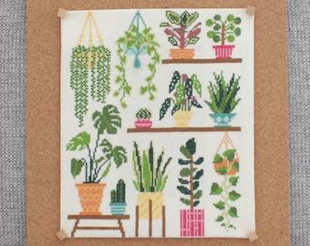 Homely Houseplants V1 2020 SAL / Plant Collage Cross Stitch Pattern / 3 Schemes / Plant Love / Monstera Cross Stitch / Plant Cross Stitch
