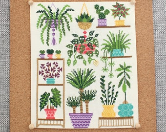 Homely Houseplants V2 2021  SAL / Plant Collage Cross Stitch / 3 Color Schemes / Plant Love / Alocasia Cross Stitch / Plant Embroidery /