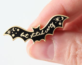 Hard Enamel Pin / Bat Stitch Crazy / Stitcher's Gift / Craft Fan / Knitting Gift / Crochet Pride / Lapel Pin / Cosmic Bat Pin / Bat Pin