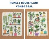 COMBI DEAL 2 patterns Homely Houseplants V1 V2 SAL Patterns Value for Money Cross Stitch Plant Patterns Plant Embroidery Monstera