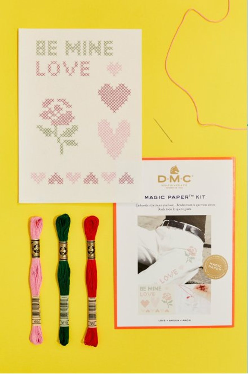 Love Cross Stitch / Magic Paper Kit / Valentines Kit Embroidery / Heart  Cross Stitch / Love Embroidery / Stitch on Textile / Red Rose