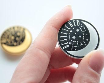 Gold/Silver Needle Minder Bestitched / Moon Needle Keep / Needle Minder Moon / Magnetic Needle Keep / Celestial Enamel Minder / Moon & Stars