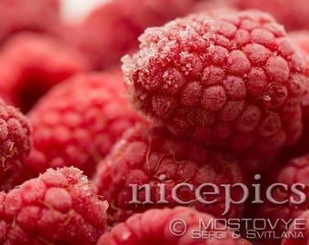 Frozen raspberries close up shot downloadable digital art print