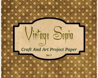 Vintage Sepia Craft And Art Project Paper 40 Images Instant Download 2600 x 2600px Scrapbooking Journaling Crafting Paper