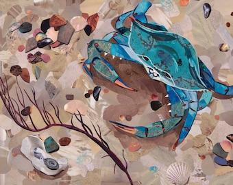 Old Bay,  Fine Art Print, Magazine Collage, Upcycle, Crab, Maryland Blue Crab,  Beach, Sea, Chesapeake Bay Recycle, 8x10, 11x14, 16x20