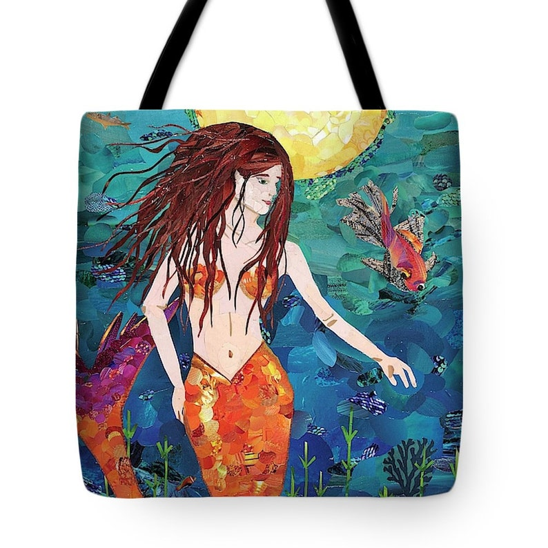 cd3dd0e8c4e4 Mermaid Tote Bag, Magazine Collage, Upcycle, Tote, Totes, Ocean, Mermaiden,  Fish, Sea, Sea Life, Full Moon, Sanibel