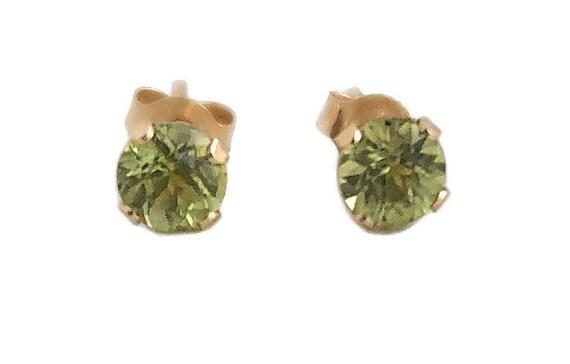 Peridot Earrings - 14k Yellow Gold Peridot Stud Ea