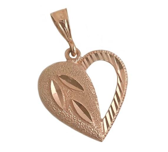 Vintage Heart Pendant - 14k Rose Gold Heart Pendan