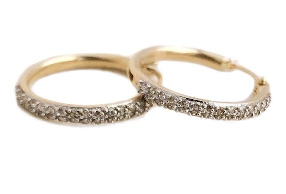 Diamond Hoop Earrings - Vintage 14k Yellow Gold Ho