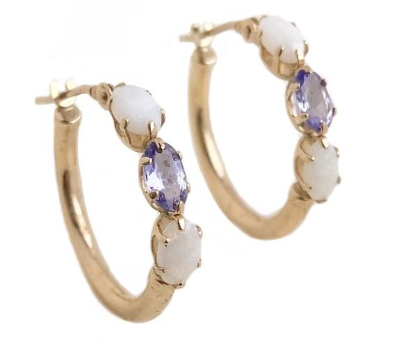 Vintage Hoop Earrings - 10k Yellow Gold Opal Ameth