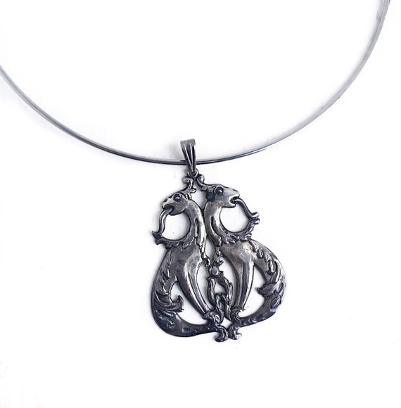 Antique Dragon Necklace - Sterling Silver Twin Dra
