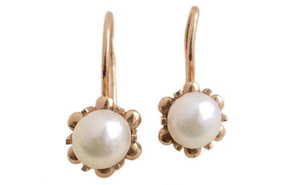 Antique Victorian Pearl Earrings - 14k Rose Gold F