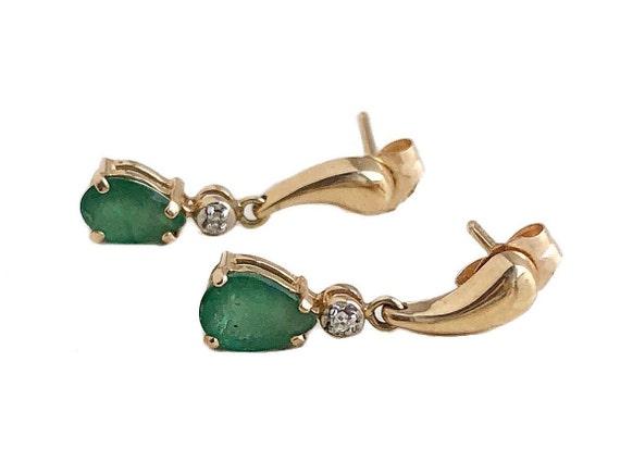 Vintage Emerald Earrings - 14k Yellow Gold Dangle