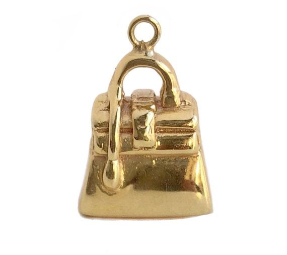 Gold Purse Charm - 14k Yellow Gold Handbag Charm P