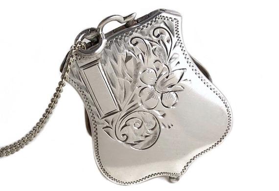 Art Deco Locket - Sterling Silver Etched Flower Sh