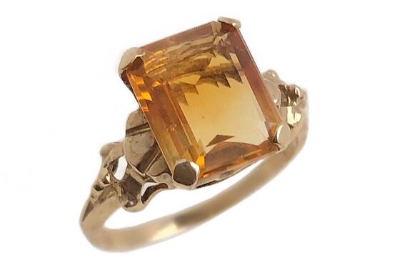 Simulated Citrine Ring - 10k Yellow Gold Orange Ye
