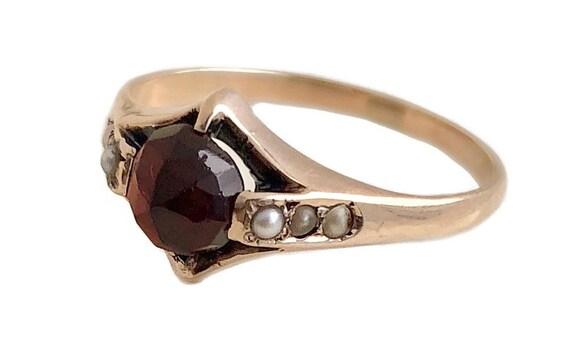 Antique Garnet Ring - 14k Rose Gold Garnet & Seed