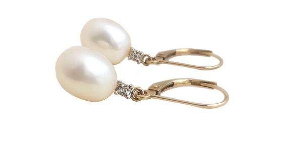 Vintage Pearl Earrings - 14k Yellow Gold Pearl & D