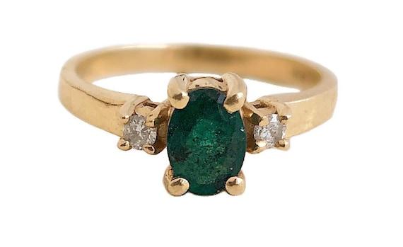 Emerald & Diamond Ring - 14k Yellow Gold Green Gen