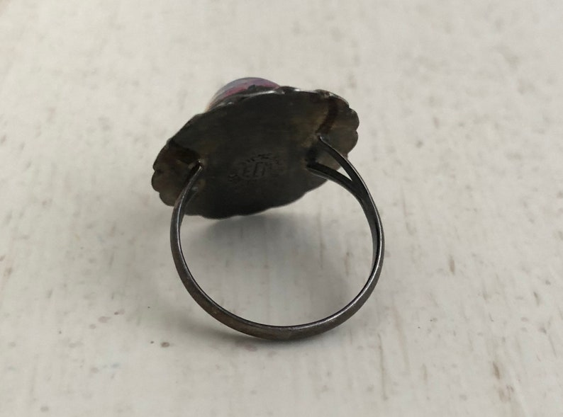 Dichroic Glass Ring Sterling Silver Mexico Southwestern Statement Ring Size 6