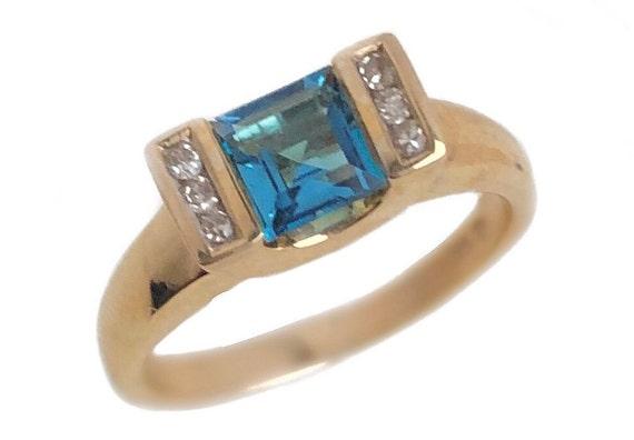 Blue Topaz Ring - 10k Yellow Gold Blue Gemstone Ri