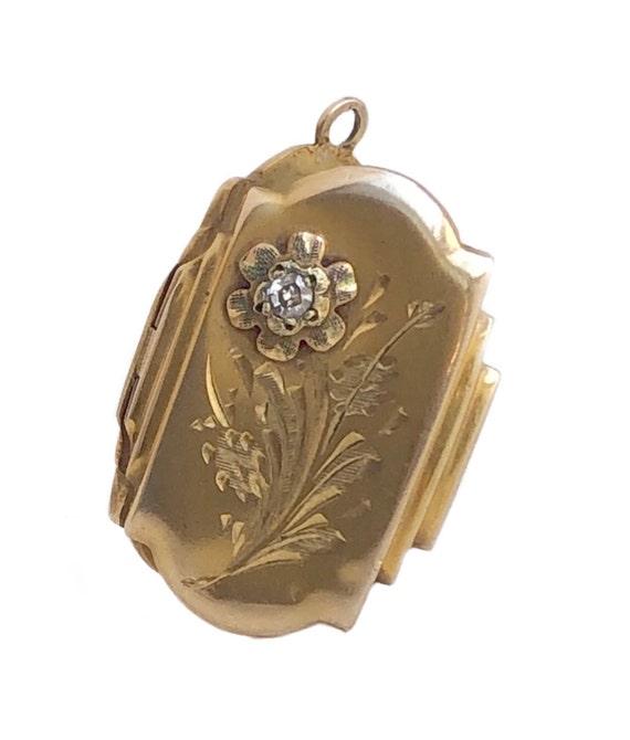 Floral Locket - Vintage 10k Yellow Gold Diamond Fl