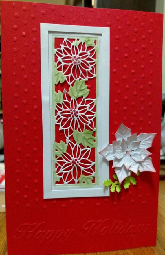 Handmade Christmas Card Poinsettia Card Homemade Holiday | Etsy