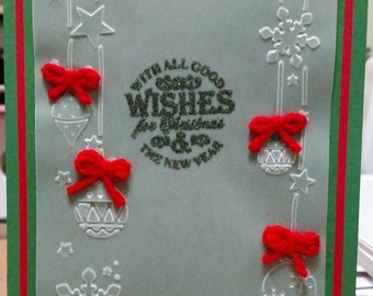 Handmade Christmas Card, Ornament Card, Vellum Holiday Card