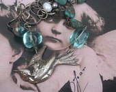 Silver Bird Assemblage Necklace, couture collage jewelry, upcycled estate, antique statement ooak, Aqua beads, Bespoke Figural jewelry, boho