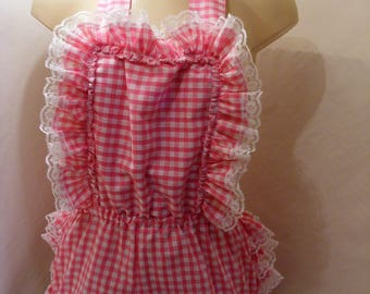 8cce1ae9187 adult baby sissy abdl pink gingham romper sunsuit frilly bum op linings  w proof terry toweling pvc chain lock