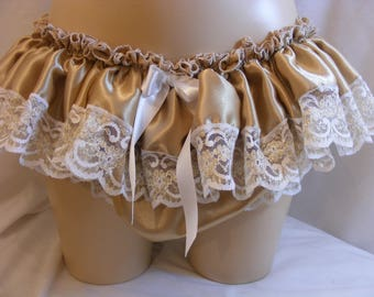 """sissy adult baby panties frilly gold satin and lace pants mens lingerie knickers  waist/ hip 28""""-42"""" cross dress tv  ~ b167"""