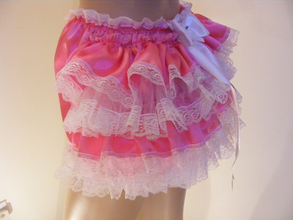Baby Baby Girls Satin Frilly Lace Knickers Pants dans White and Pink