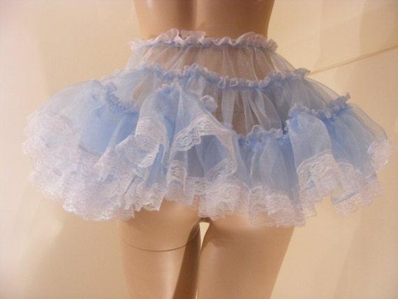 "SISSY ADULT BABY FANCY DRESS BLUE ORGANZA MICRO MINI SKIRT 11/""LONG COSPLAY"