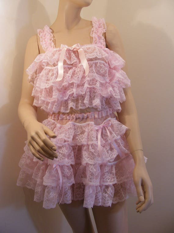Prissy Sissy Maid Adult Baby CD//TV Pink Frilly Bra /& Petticoat