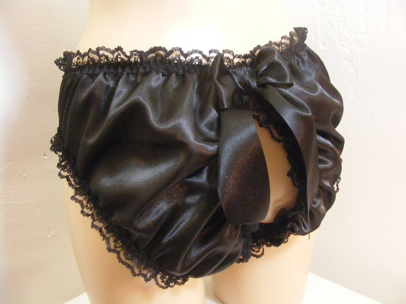 sissy frilly black silky satin lace open butt panties all colours lingerie knickers all sizes kinky fetish ~CD TV crossdress