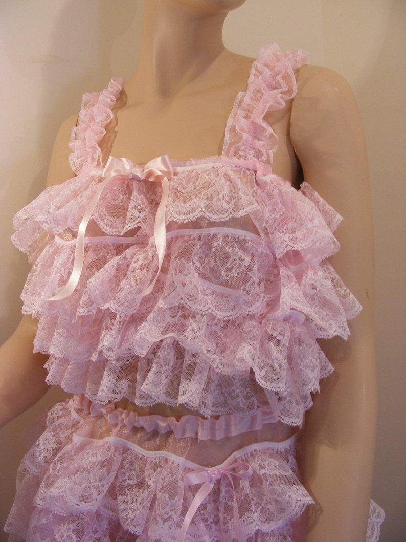 437c765874 Sissy adult baby pink organza ruffle lace top bra cami top