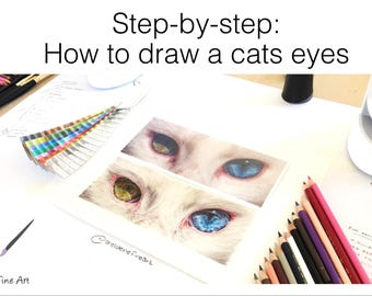 Step-by-step Tutorial - How to draw a Cats Eyes - learn to draw, cat eyes tutorial, eyes tutorial, animal eyes, drawing tutorial, blue eye