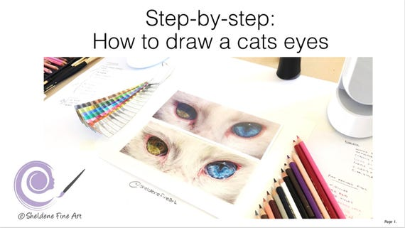 Step By Step Tutorial How To Draw A Cats Eyes Learn To Etsy