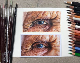 Step-by-step tutorial on how to draw an elderly eye